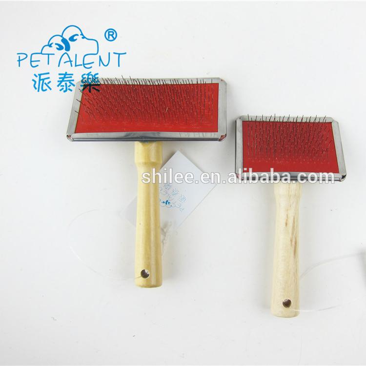 Mango de madera de aseo de mascotas con cepillo con dientes de metal peine para eliminar piojo y breaken pelos