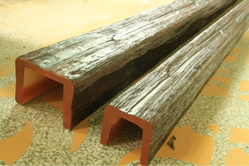 Large selection for rustic faux wood beams for sale. Rich rustic character with deep tones of brown and amber replicate the look of an original solid rough sawn beam perfectly.