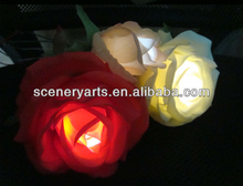 rosas de color naranja led flor de las flores de seda luces led flor de contacto real llevó la luz rosa flores artificiales con