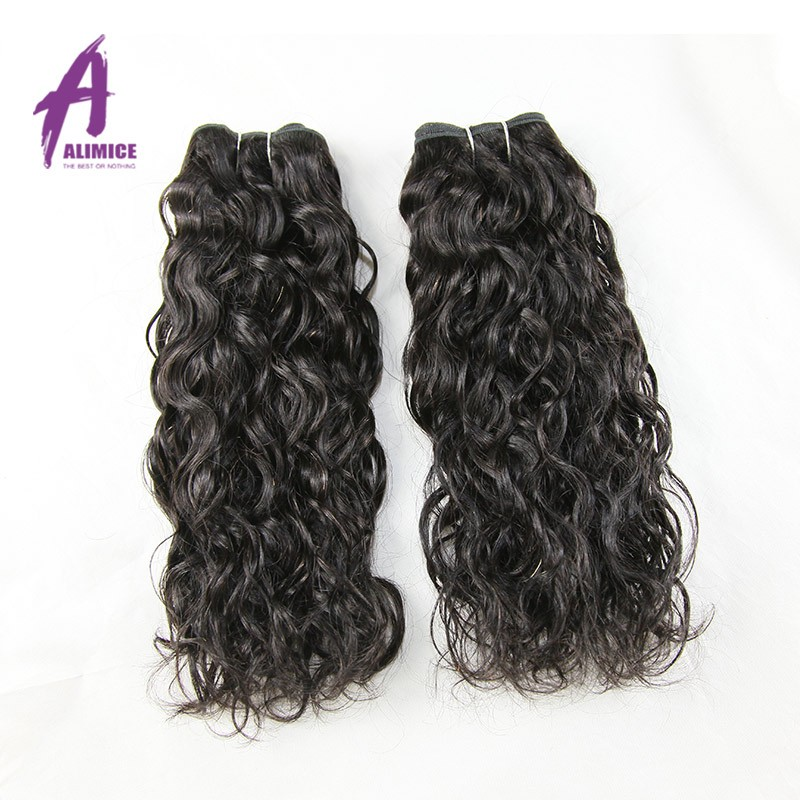 Mejor oferta pelo Color Negro 14-24 pulgadas Natural indonesio del pelo humano de la onda de agua del pelo