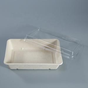 Одноразовые фаст-фуд biodegradable takeaway bagasse bento бумажный Ланч-бокс с крышкой