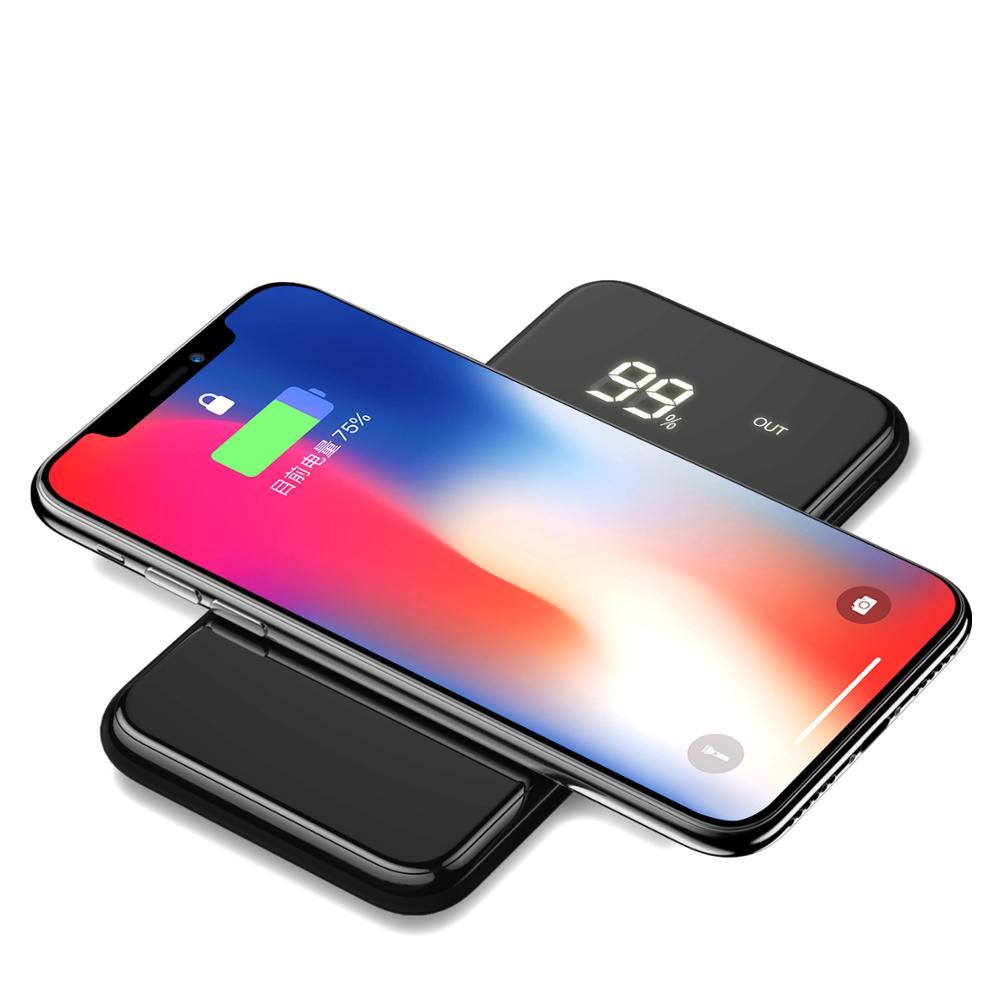 ワイヤレス充電電源銀行 Iphone ポータブルタイプ C 高速充電 Powerbank サムスンの Usb Led Powerbank 外部バッテリー