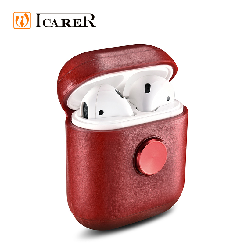 Nueva Fidget Spinner auriculares <span class=keywords><strong>Real</strong></span> caso protector de cuero de aire para las cápsulas