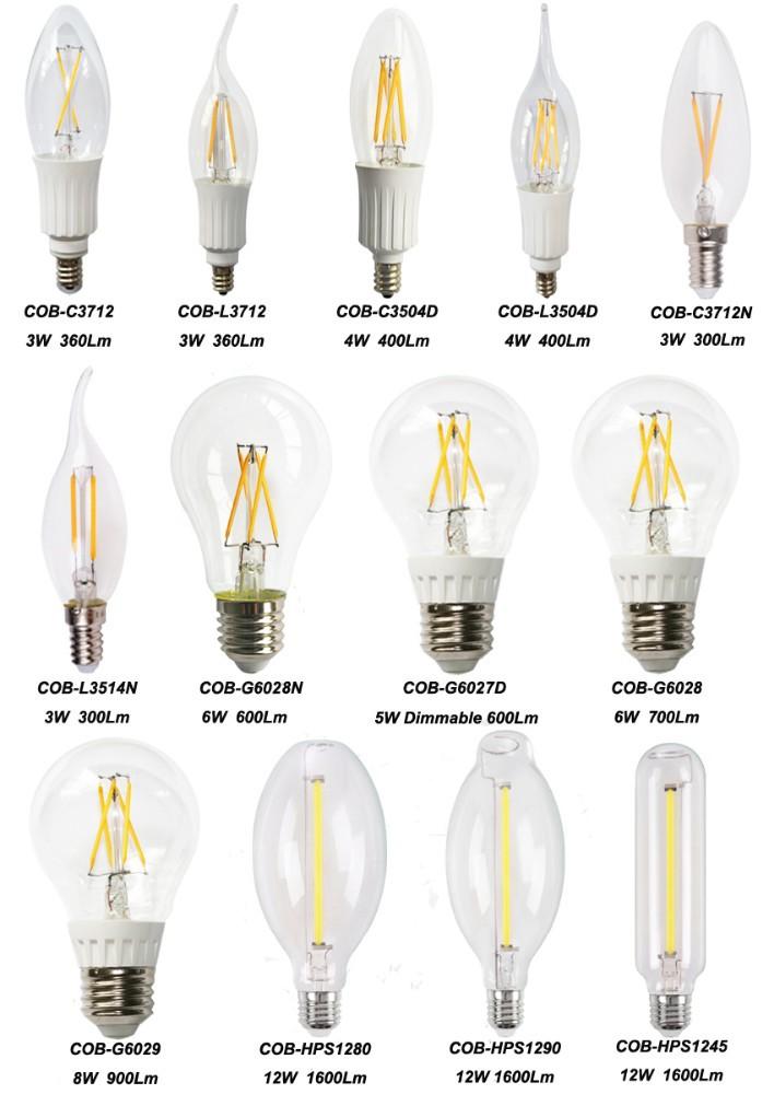 Venda quente COB-HPS1245 decorativa LED filamento da lâmpada de 12 W luz tung...