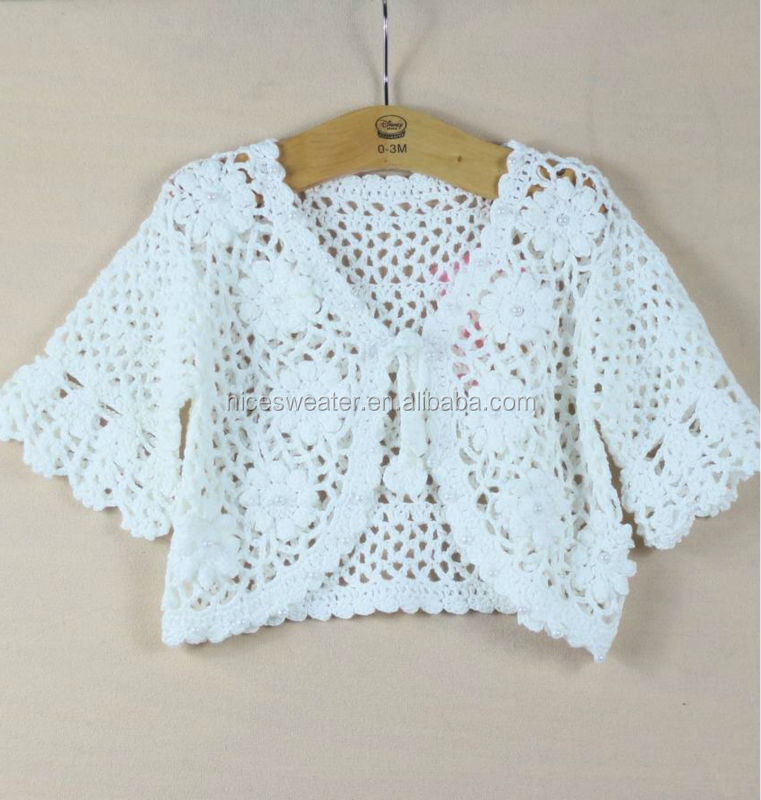 Hand Knitted Hollow Out Flower Pattern Cardigan Baby ...