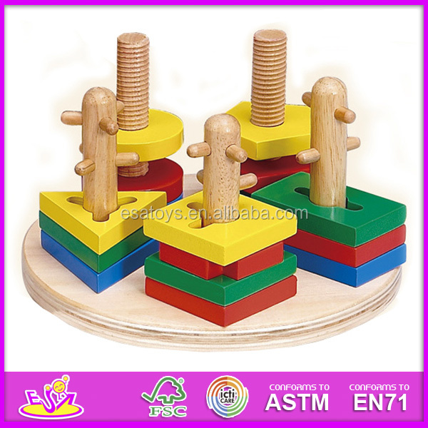 Stacking Toy Puzzles : New kids wooden toy stacking and shape puzzle