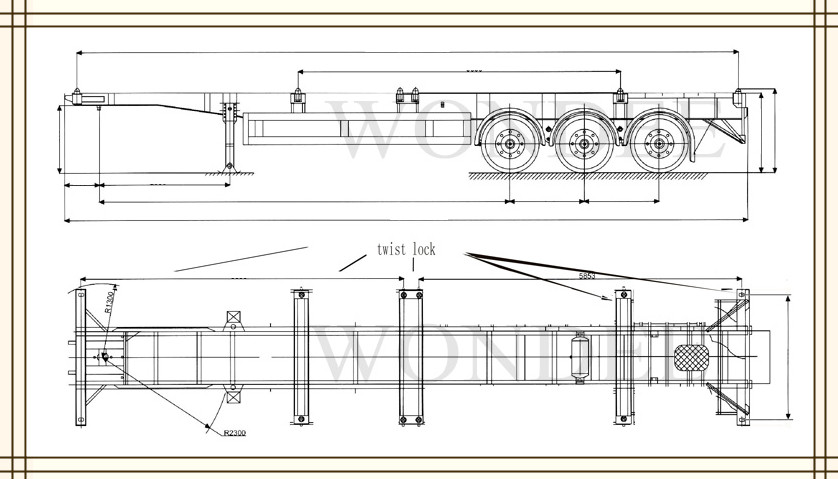 Semi Axle Diagrams : Widely used brand feet axles t container trailer for