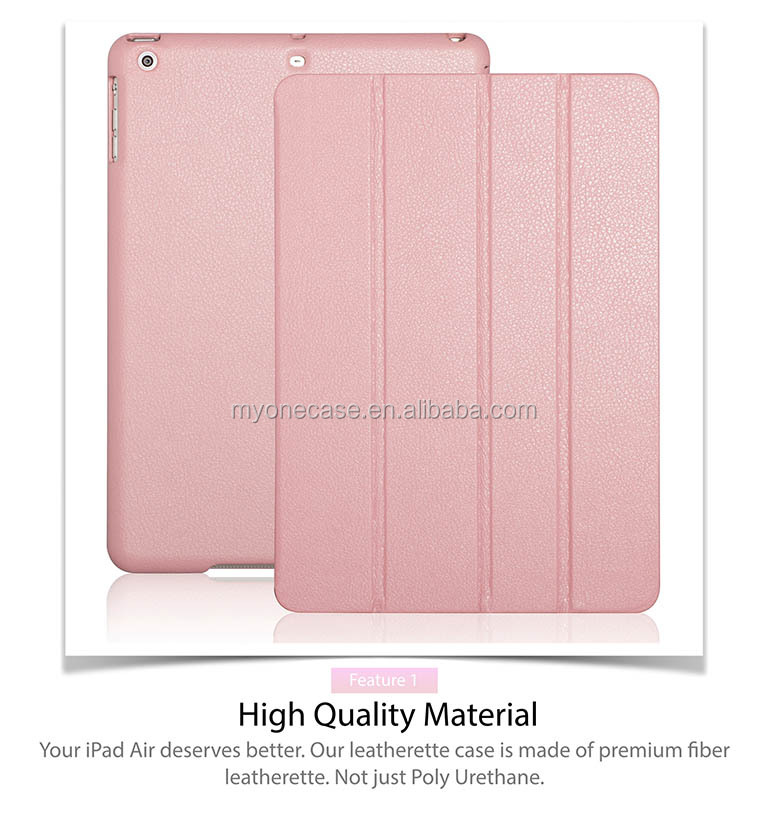 magnet leather case for iPad Air 360-degree Rotating Stand
