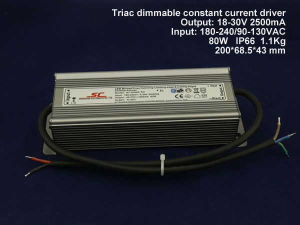 2500mA 80w 15-30V triac constant current dimmable LED driver