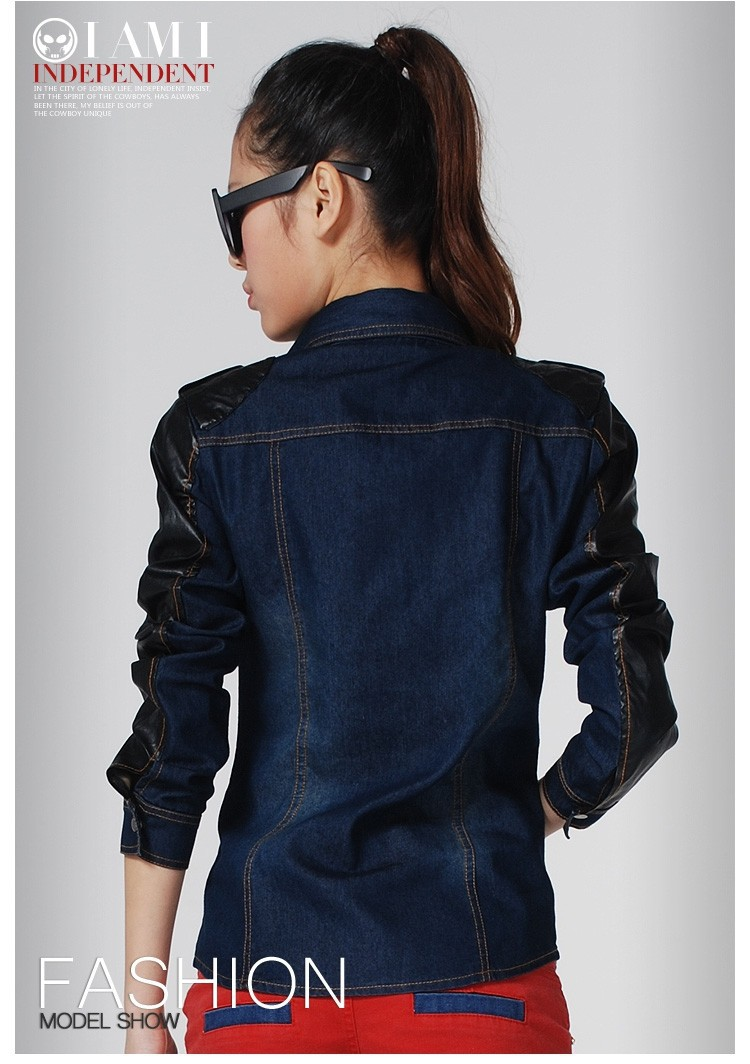 Женская куртка Spring Fashion girl's denim jackets spliced PU leather Epaulet Bleached denim motorbike jackets women's long-sleeve coats