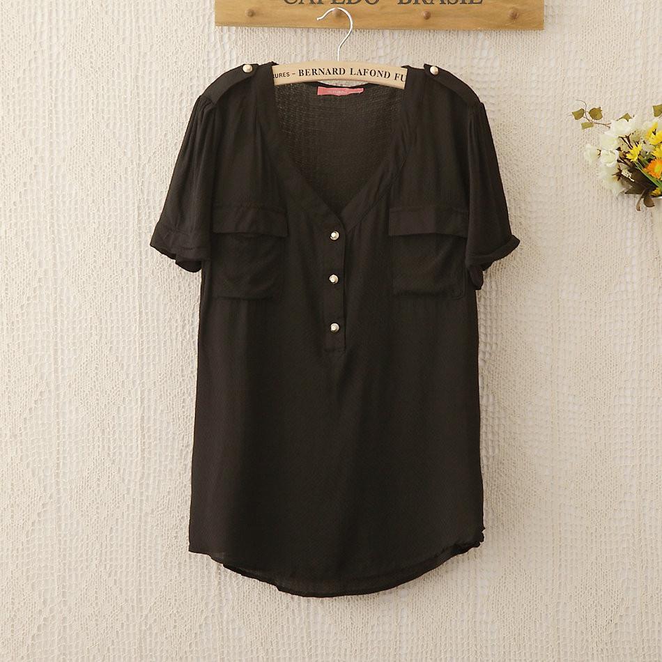 1129 новый бренд хлопок карман блузки рубашки короткий рукав сплошной цвет blusas femininas Бразилии m/l/xl