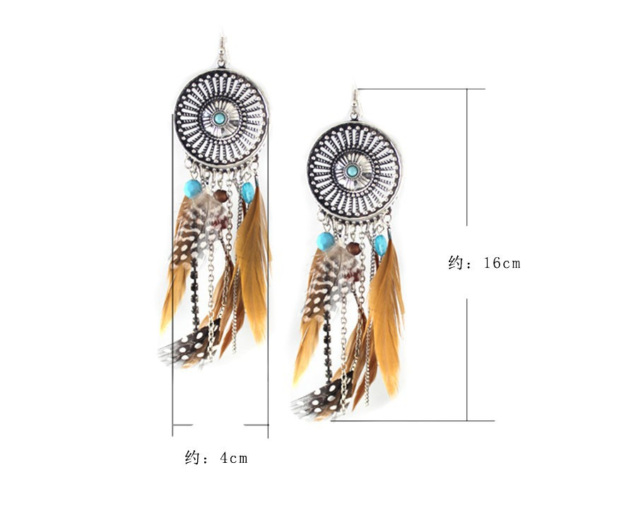 Серьги длинные из перьев. фото
