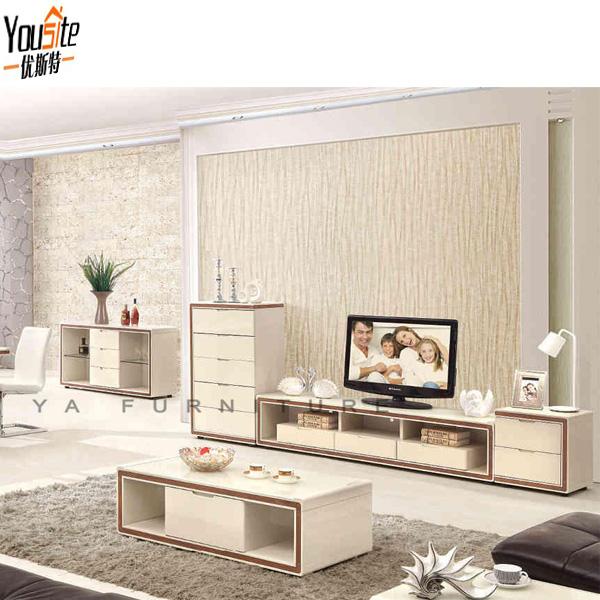 Moderne glazen keuken dressoir met walnoot en beige hoogglans ...