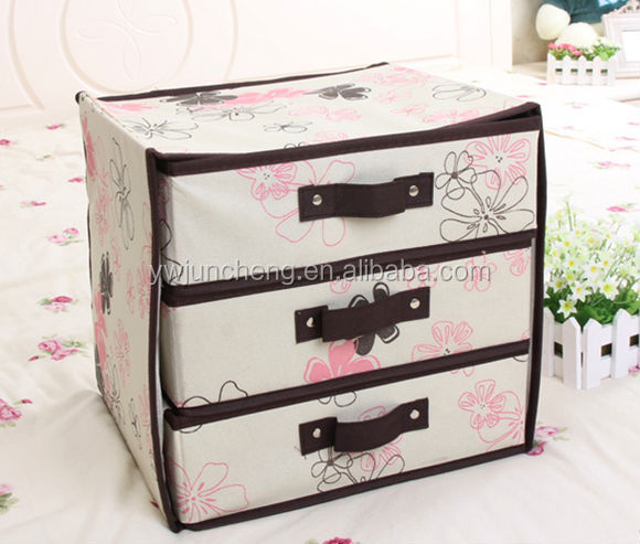 non tiss 3 couches 3 tiroirs d corative carton tiroir bo te de rangement bo tes caisses de. Black Bedroom Furniture Sets. Home Design Ideas