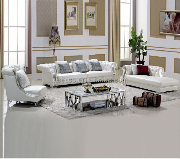 Pure White Chesterfield Leather Sofa,Coffee Table,Living Room ...