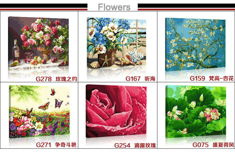 Paintboy - paint by number-Excellent Canvas Handmade coloring by numbers flower picture