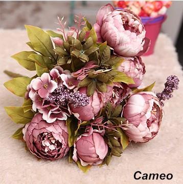 50pcs/lot моды классические винтажные ретро пион искусственные цветы шелк цветок украшение цветок
