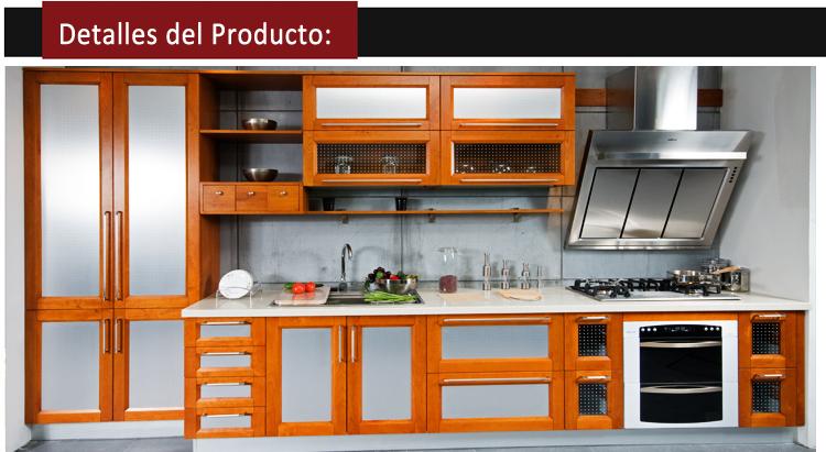 Gabinete de cocina de aluminio con marco de madera de cerezo ...