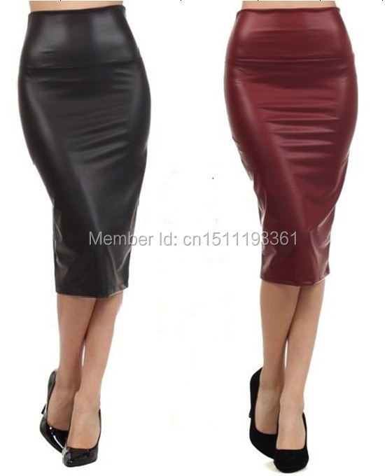 Online Cheap Wholesale Plus Size High Waist Faux Leather Pencil ...