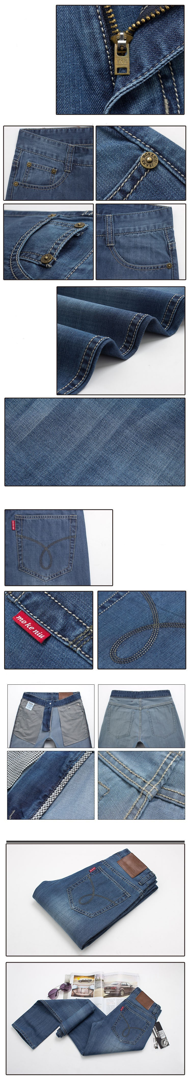 Мужские джинсы Fashion Men's Clothing Summer Thin Jeans For Men Long Pants Slim Light Blue Jean mens jeans