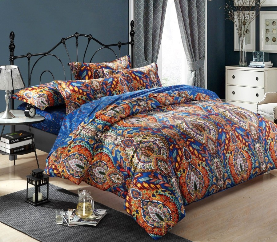 Egyptian cotton blue paisley satin luxury hotel bedding for Luxury cotton comforter sets