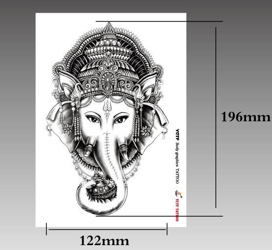Temporary tattoos large elephant elephant king arm fake for Temporary elephant tattoo