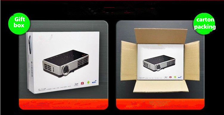 Haute luminosit 600 lumens android 4 4 wifi shutter 3d for Miroir dlp pico projector