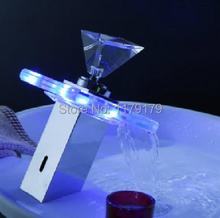 Купить Популярное кристально ручки водопад кран меди, медь хром СВЕТОДИОДНЫЕ кран ванной кран OD8652