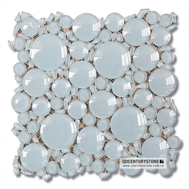 3d Aqua Blue Irregualr Backsplash Bubble Glass Tile View