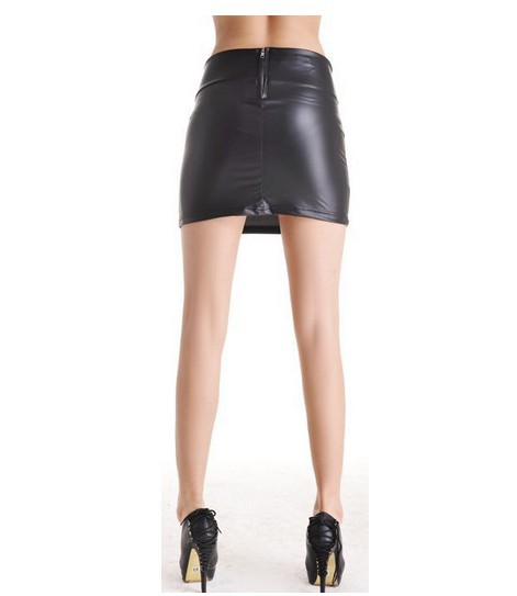 2017 stretch pu leather skirt skin tight render