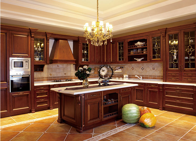 Moderne solides armoires de cuisine en bois style europ en for Cuisine en bois moderne 2015