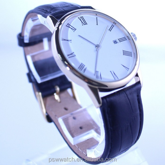 leather watches for man with thin case and man's quartz wrist watch
