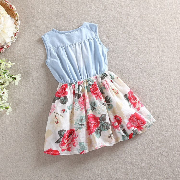 HT1DEWuFNpbXXagOFbXO - Belababy Baby Girl Dress 2018 Summer Children Sleeveless Denim Floral Dresses With Button Kids Princess Summer Dresses For Girls