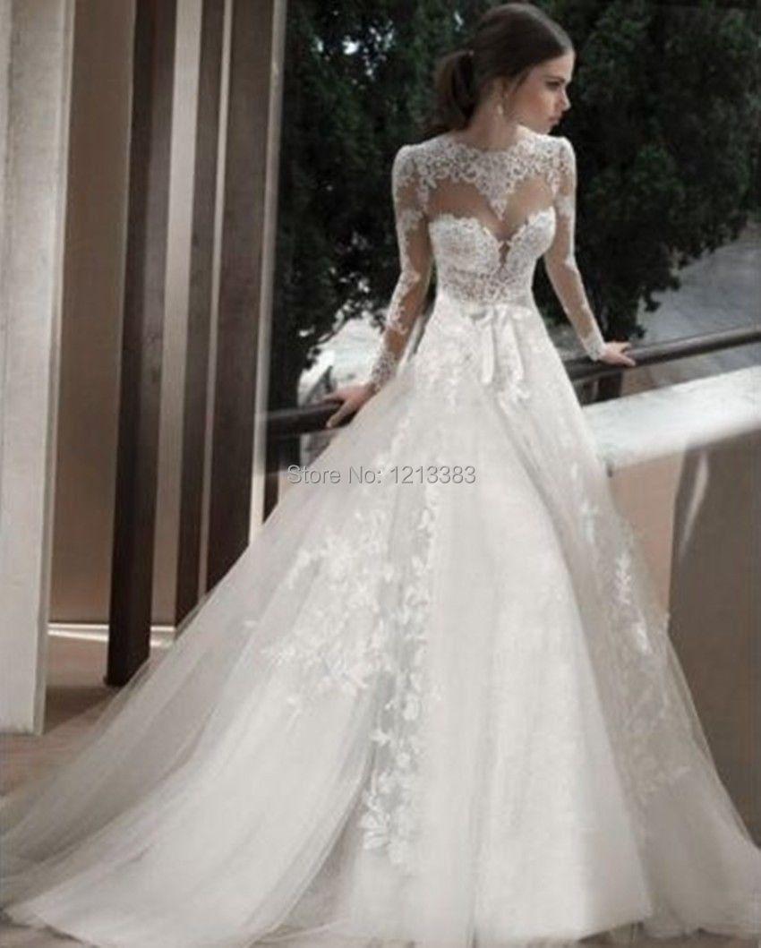 Lace Long Sleeve Open Back Wedding Dress