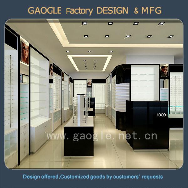 optical store design retail eyeglass display showcase wall
