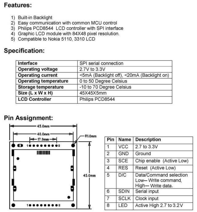 ЖК-модуль China 1,6 LCD Nokia 5110 /arduino 5