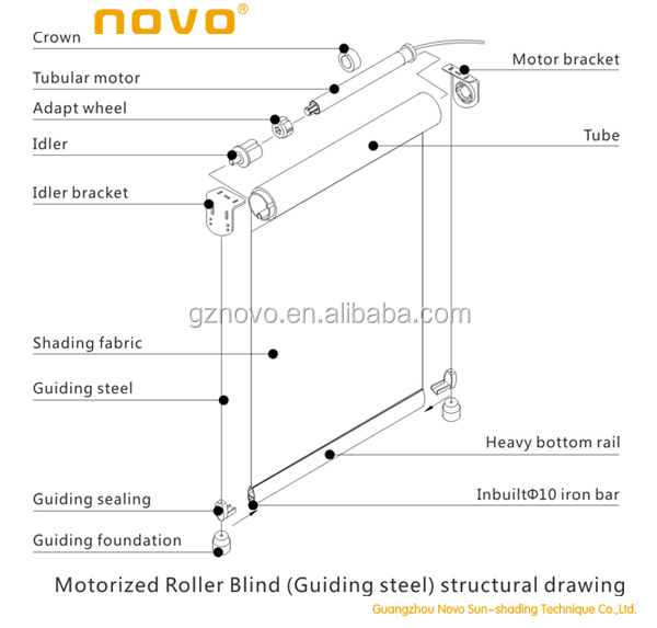 motorized roller blind guiding steel structural drawingjpg - Motorized Roller Shades