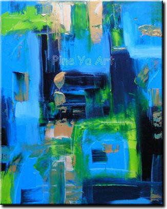 Buy Modern Wall picture oil blue large canvas wall art hand painted Knife acrylic oil painting on canvas for living room decoration cheap