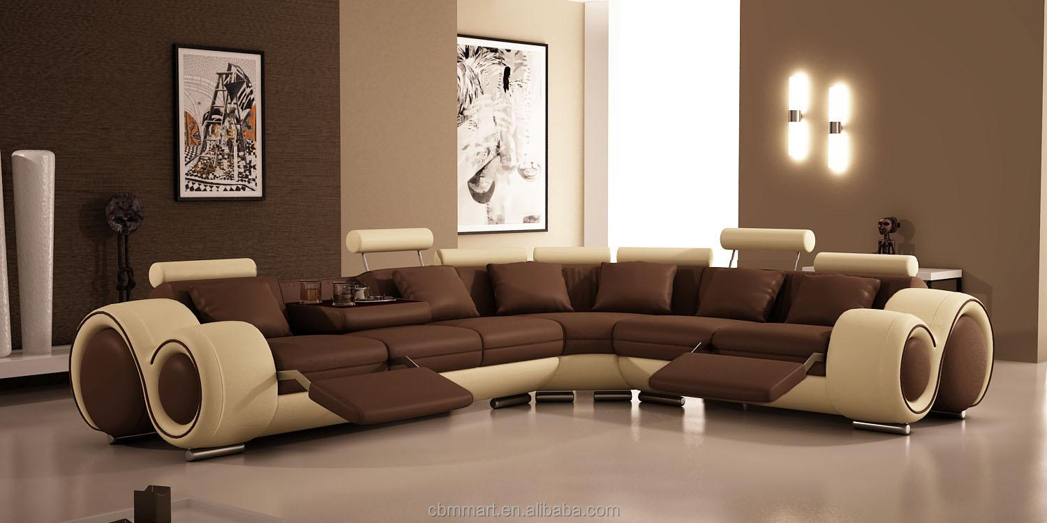 modern corner sofa with genuine leather - Sitzgarnitur Wohnzimmer Modern