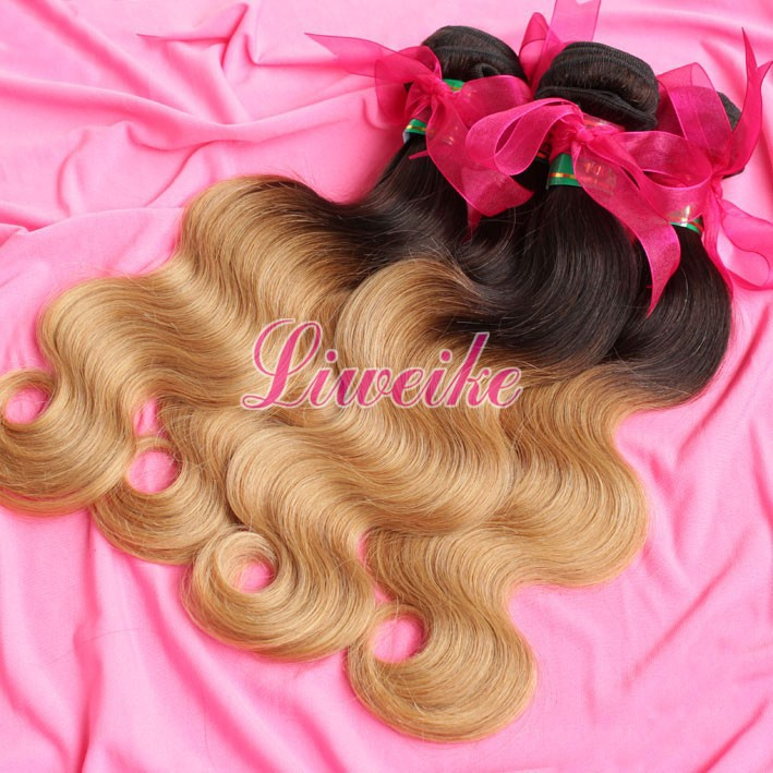 Two Tone Color Fashion wavy brazilian virgin hair 1pc/lot two tone ombre color hair bundle weaves