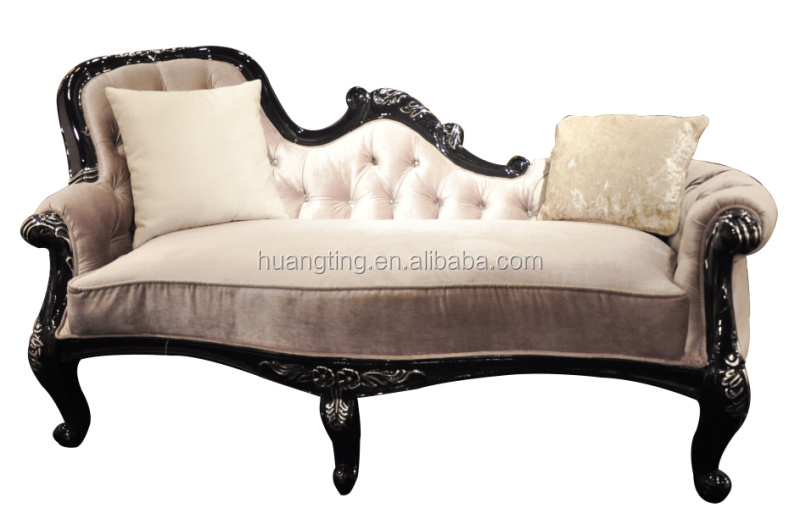 New antique french chaise lounge french antique style for Antique wooden chaise lounge