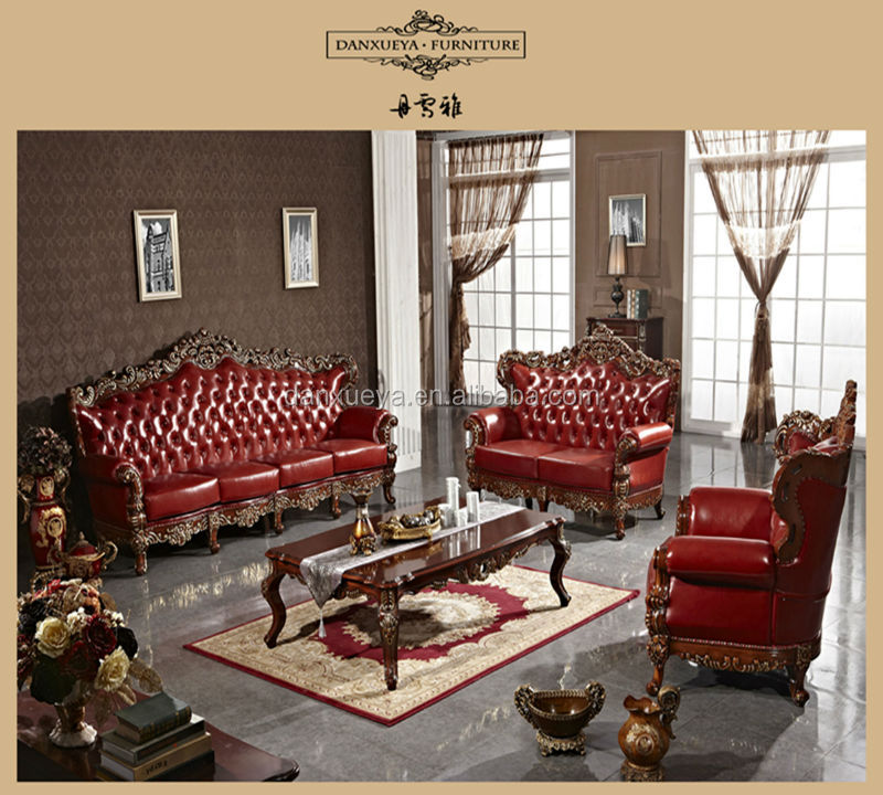 Red antique elegant french style living room luxury royal furniture wood carved leather sofa set - Add luxurious look home royal sofa living room ...