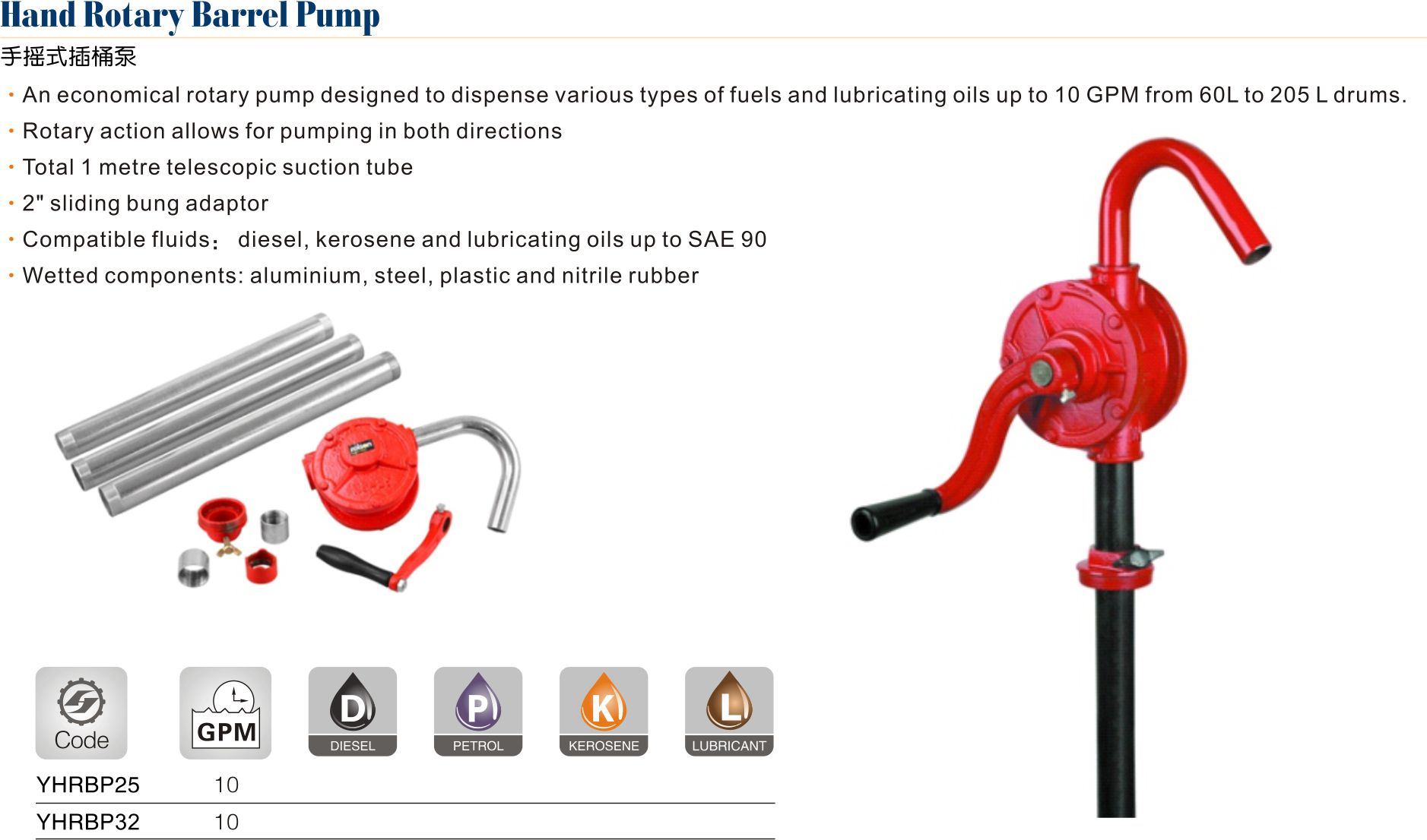 ROTARY BARREL PUMP FOR OIL /& DIESEL NEW