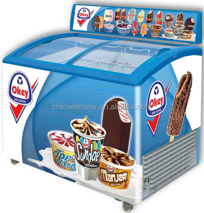 Ice Cream Freezer With Advertising Lamp Box And Sticker