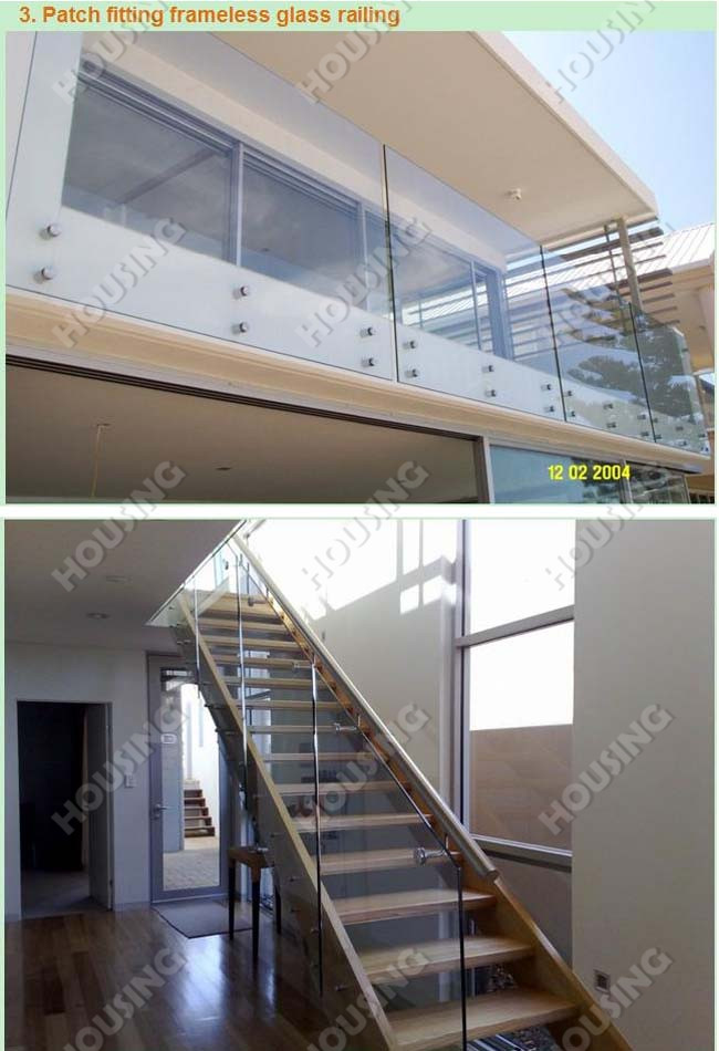 Nieuwe ontwerp aluminium u channel frameloze glazen balustrade voor balkon balustrades en - Railing trap ontwerp ...