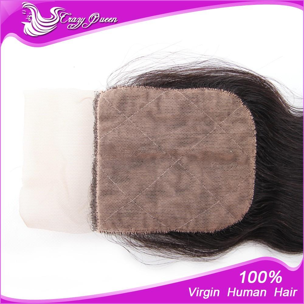 6a тело волны шелка базовый закрытие свободной части & средняя часть 8-22inches 4 x 4 бразильской волосы швейцарские кружева закрытия отбеленная knots