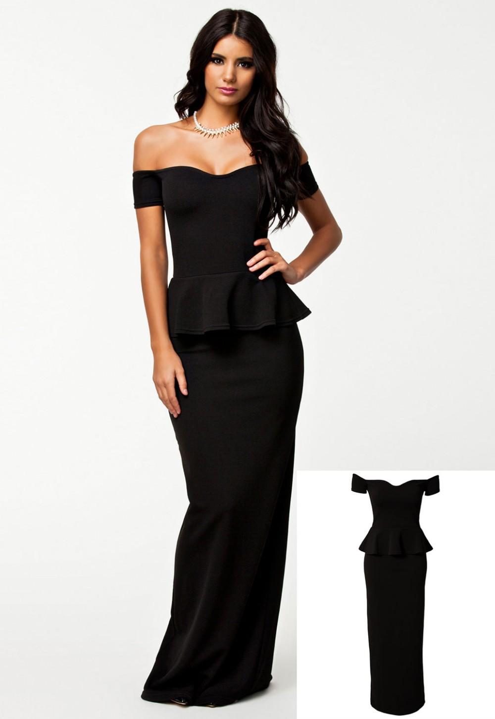 Black-Peplum-Maxi-Dress-With-Drop-shoulder-LC6244-13108