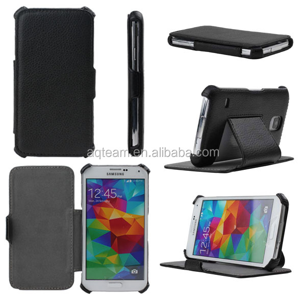 Heat setting flip stand PU leather case For Samsung galaxy s5 i9600