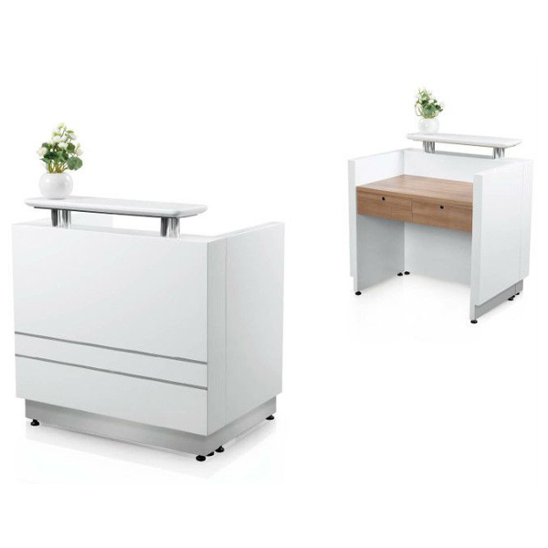 Oem 2014 Hot Sale New Design Salon Spa White Paint Small Reception Desk Front Desk Office
