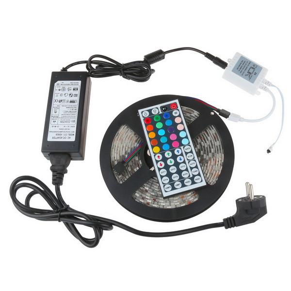 רצועת Led 5050 SMD 60led/m 300leds רצועת אור גמיש IP65 עמיד למים + 44key מרחוק + 12V 6A שנאי לקישוט הבית